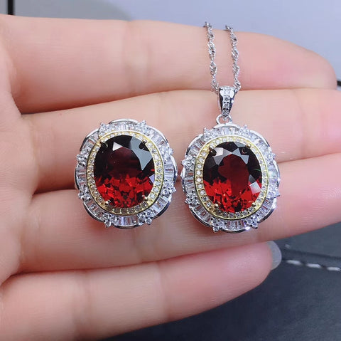 Fashion natural garnet silver sets - MOWTE