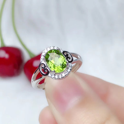 Peridot sterling silver opening ring