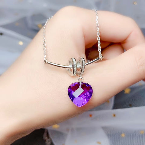 Amethyst heart shape silver pendant & necklace - MOWTE
