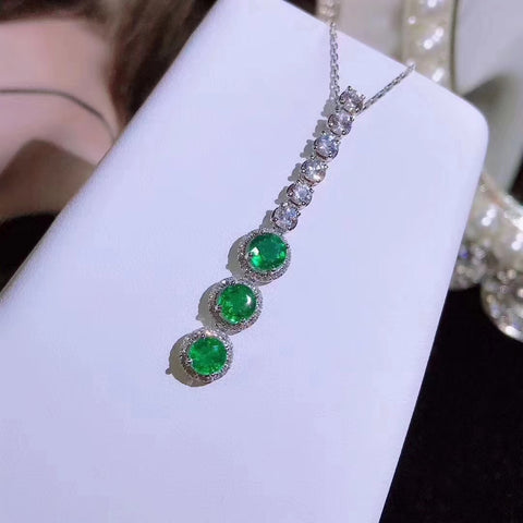 Natural emerald fashion silver necklace - MOWTE