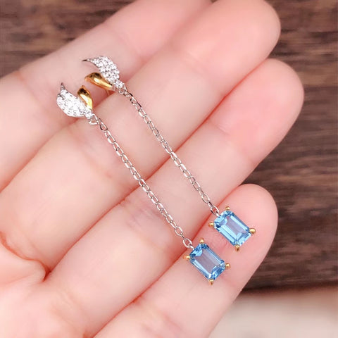 Natural blue 1.2ct topaz drop dangle silver earrings