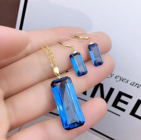 Natural London blue topaz 18K real gold jewelry sets - MOWTE
