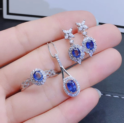 Fashion natural sapphire sterling silver sets - MOWTE