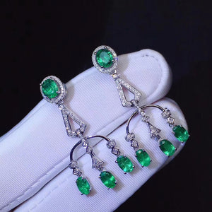 Natural emerald sterling silver earrings - MOWTE