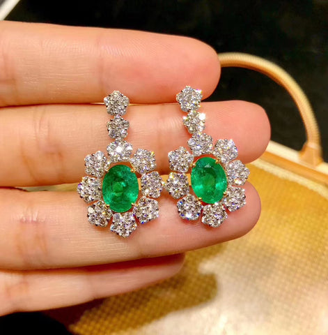 Natural emerald sterling silver earrings