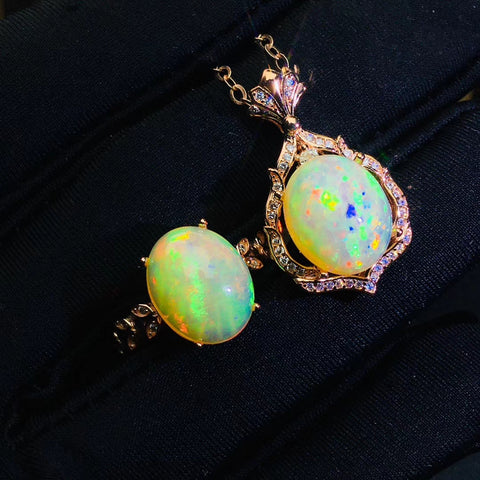 Luxury natural sterling silver opal sets