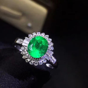 Natural emerald sterling silver ring - MOWTE