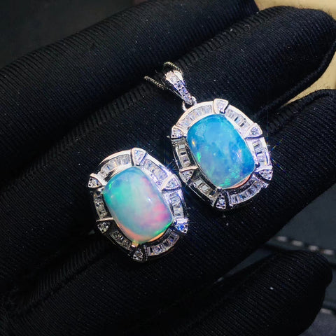 Fashion natural sterling silver opal sets