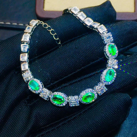 Genuine emerald bracelet set in 925 sterling silver - MOWTE
