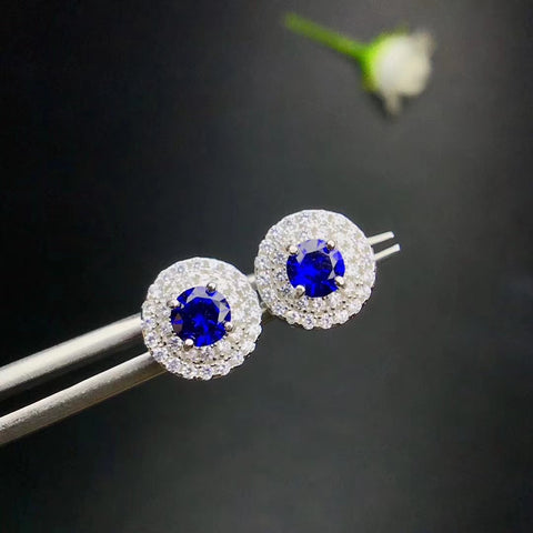Natural round cut sapphire sterling silver earrings