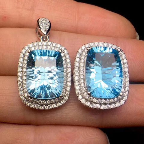 Natural Swiss blue topaz sterling silver jewelry set - MOWTE