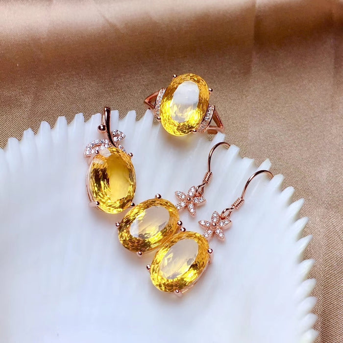 Citrine 925 stetling silver jewelry set