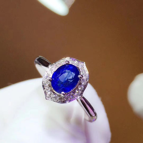 Natural sapphire oval cut silver adjustable ring - MOWTE