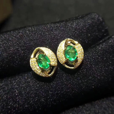 Emerald sterling silver studs - MOWTE