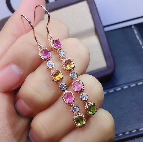 Natural tourmaline sterling silver drop earrings