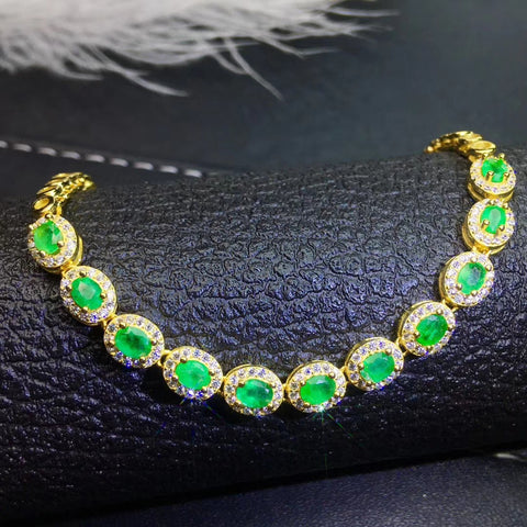 Natural emerald 925 sterling silver bracelet - MOWTE