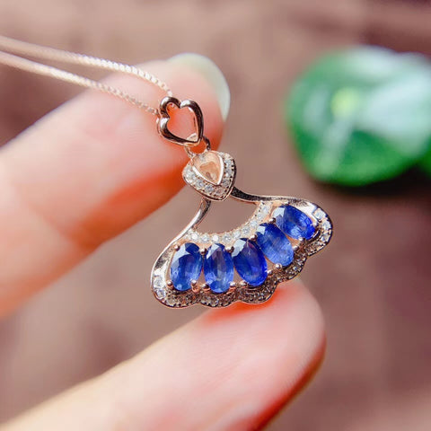 Royal blue sapphire sterling silver pendant & necklace - MOWTE