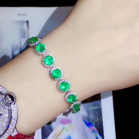 Natural emerald bracelet set in 925 sterling silver - MOWTE