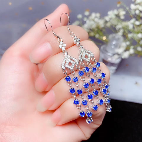 Natural sapphire sterling silver earrings