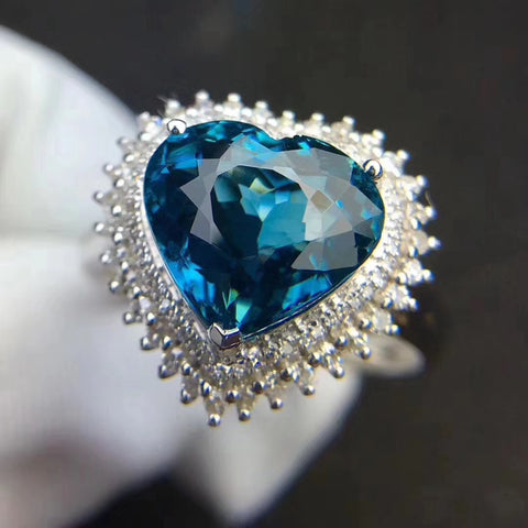 Natural Lundon blue topaz sterling silver adjustable ring - MOWTE