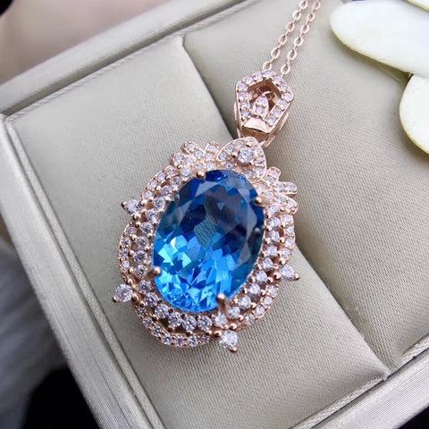 Natural Swiss blue topaz sterling silver necklace