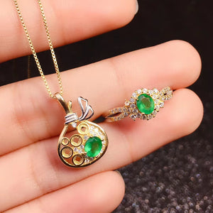 Fashion natural green emerald sterling silver jewelry sets