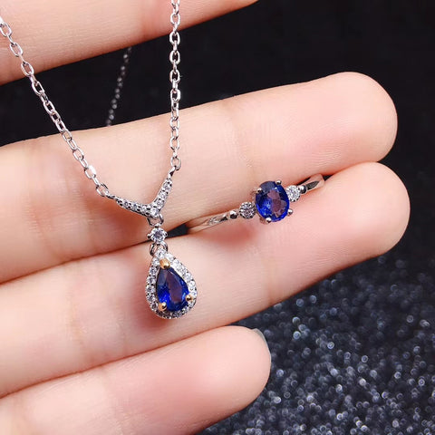 Fashion genuine sapphire silver jewelry set