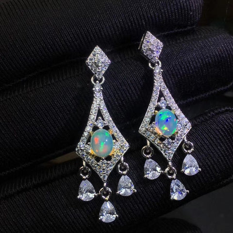 Fashion natural opal drop dangle sterling silver earrings