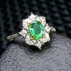 0.75ct emerald sterling silver ring