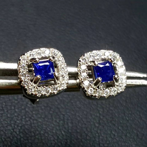 Royalblue sapphire sterling silver earrings