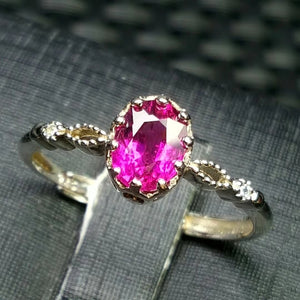 Rubicon tourmaline silver adjustable ring