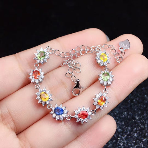 Colorful sapphire sterling silver bracelet
