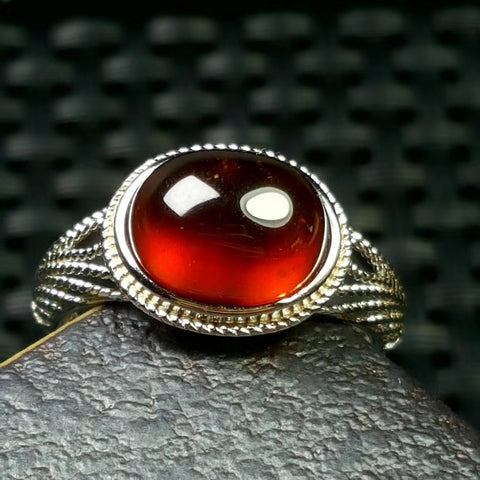 Natural garnet silver adjustable lace ring