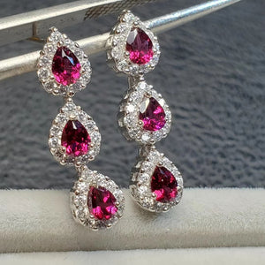 Fashion garnet dangle sterling silver earrings