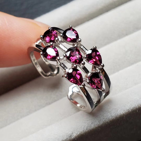 Natural garnet sterling silver adjustable ring