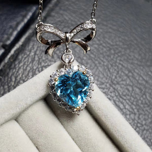 Natural blue topaz sterling silver necklace
