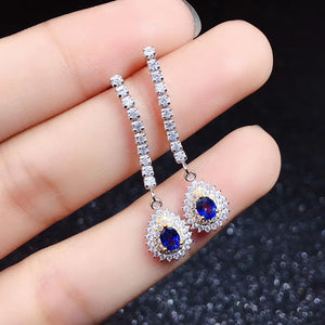 Natural oval cut sapphire sterling silver earrings