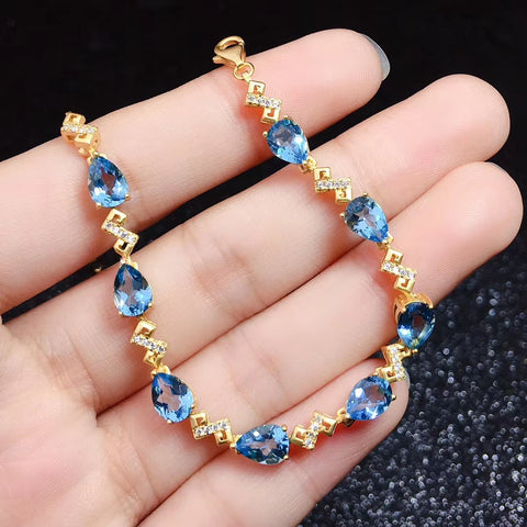 Natural topaz sterling silver bracelet