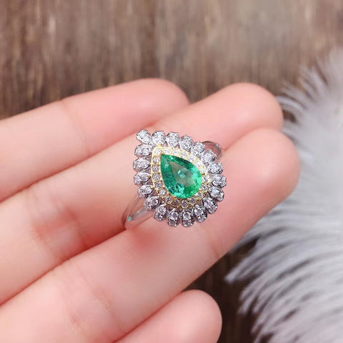 Natural pear cut silver green emerald ring