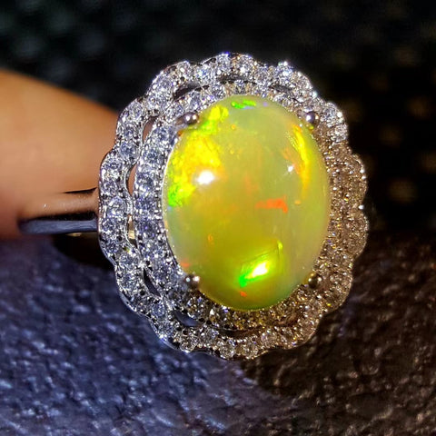 Vintage court natural opal sterling silver adjustable ring