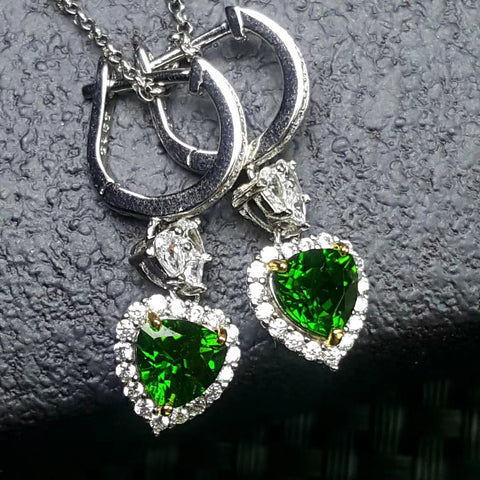 Natural diopside silver earrings