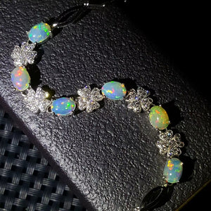 Fashion natural opal sterling silver bracelet