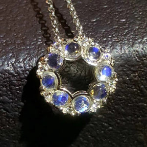 Fashion blue moonstone sterling silver necklace