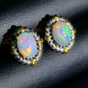 Natural opal studs sterling silver earrings