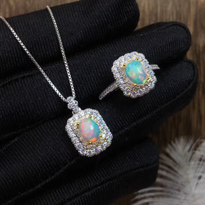 Natural sterling silver opal sets