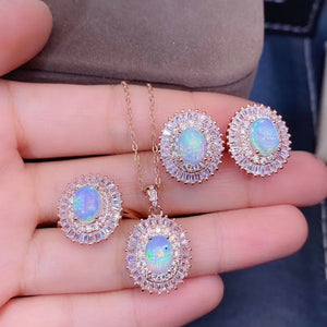 Natural opal sterling silver jewelry sets