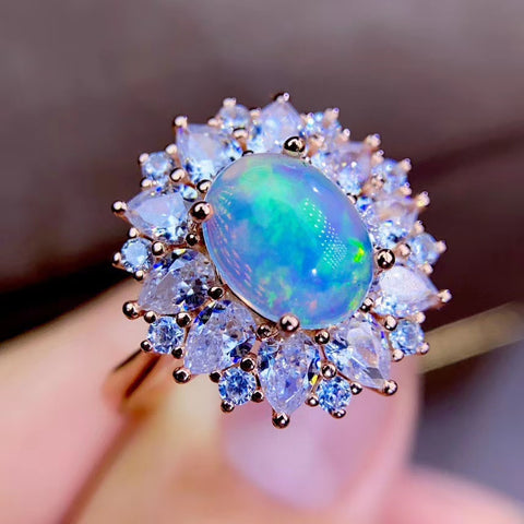 Natural opal sterling silver adjustable ring