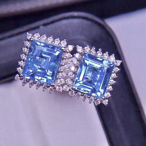 Natural blue topaz studs silver earrings
