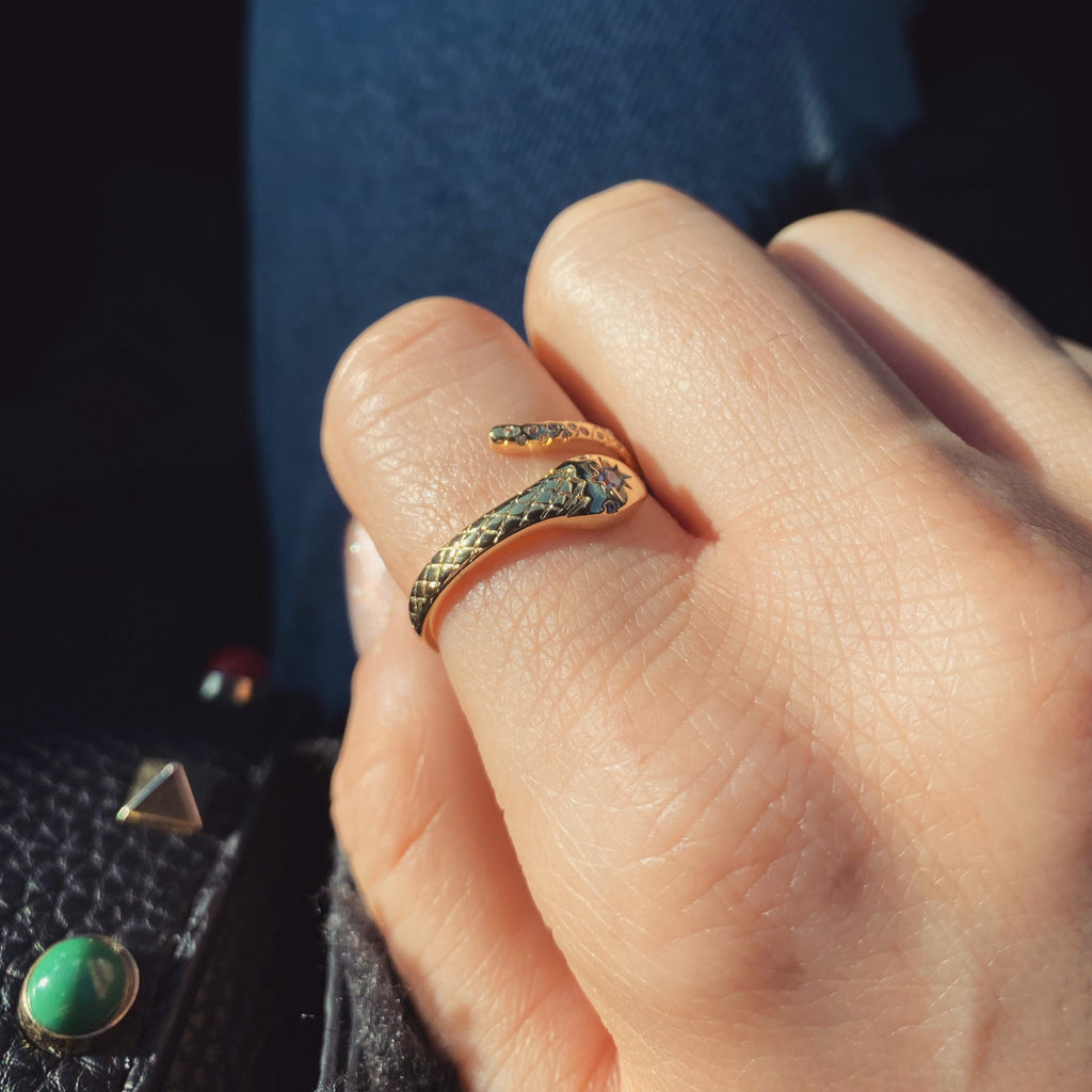 gold pave snake ring