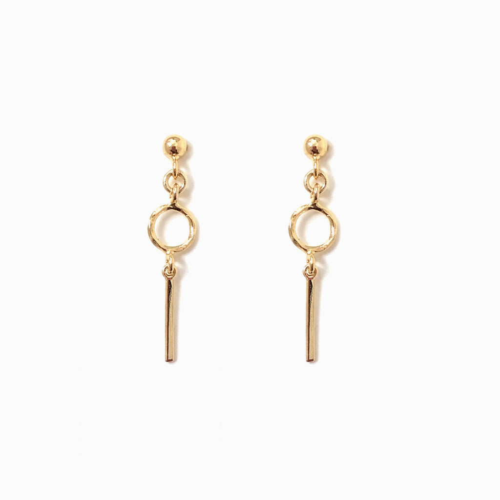 Gold Hanging Stud Earrings